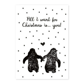 Kerstkaart stamp: All I want for Christmas...